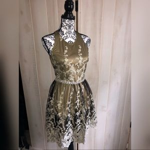 Black & Gold Embroidered Tulle Dress S